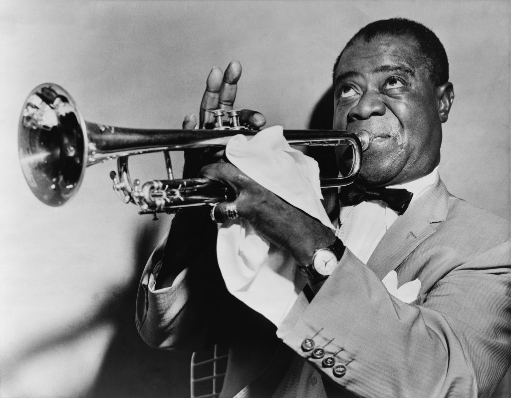Louie Armstrong on trumpet-jazz